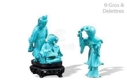 Chine, XXe siècle  Groupe en turquoise représentant deux jeunes femmes à l'éven