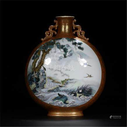 CHINESE PORCELAIN BROWN GROUND FAMILLE ROSE BIRD AND FLOWER MOONFLASK