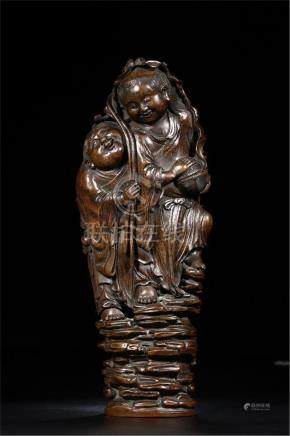 CHINESE BAMBOO CARVED TWO FIGURES