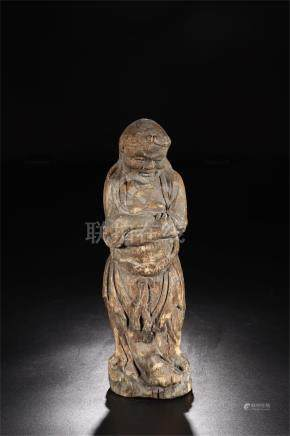 CHINESE WOOD CARVED STANDING FIGURE