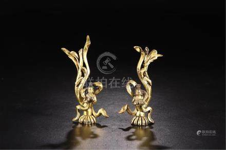 PAIR OF CHINESE GILT BRONZE FLYING BEAUTIES TABLE ITEM