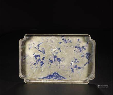 CHINESE ENAMEL SILVER HORSEMEN SQUARE TRAY REPUBLIC PERIOD
