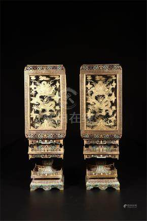 PAIR OF CHINESE CLOISONNE DRAGON SQUARE PALACE LAMPS