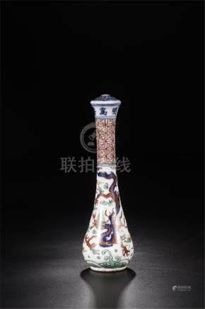 CHINESE PORCELAIN WUCAI DRAGON BRUSH HANDLE