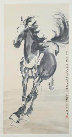 CHINESE SCROLL PAINTING OF HORSE WITH CERTIFICATE