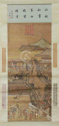 CHINESE SCROLL PAINTING OF FIGURES IN PALACE