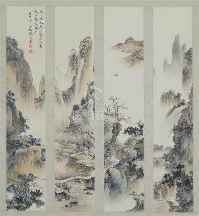 FOUR PANELS OF CHINESE SCROLL PAINTING OF MOUNTAIN VIEWS