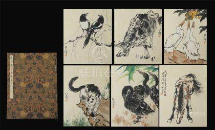 TEN PAGES OF CHINESE ALBUM PAINTING OF BRID AND ANIMAL