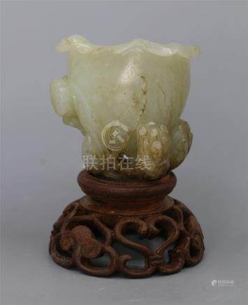 CHINESE JADE LOTUS CUP ON BOXWOOD BASE