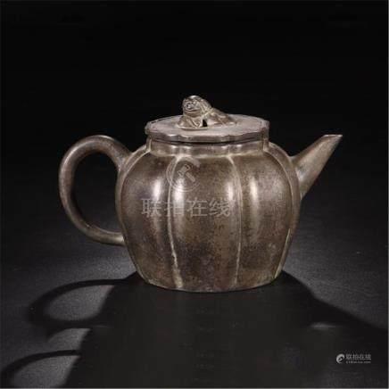 CHINESE YIXING ZISHA CLAY MELON SHAPED TEA POT