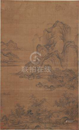 CHINESE ANCIENT SCROLL PAINTING OF MOUNTAIN VIEWS