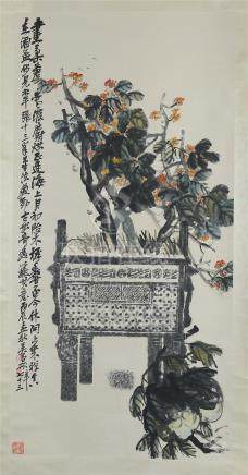 CHINESE SCROLL PAINTING OF FLOWER IN DING