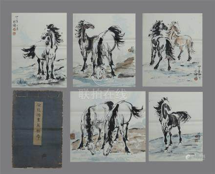 TWEELVE PAGES OF CHINESE ALBUM PAINTING OF HORSE