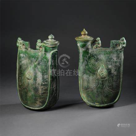 PAIR OF CHINESE PORCELAIN GREEN GLAZE KETTLE LIAO DYNASTY