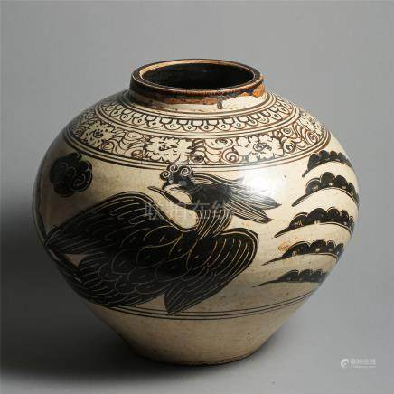 CHINESE PORCELAIN CIZHOU WARE BLACK PAINTED MEIPING VASE SONG DYNASTY