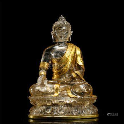 CHINESE PARTLY GILT ROCK CRYSTAL SEATED BUDDHA