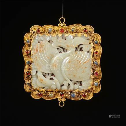 CHINESE GEM STONE PURE GOLD INLAID WHITE JADE BIRD PLAQUE