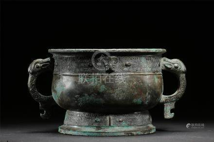 CHINESE ANCIENT BRONZE DRAGON HANDLE ROUND CENSER WARRING PERIOD
