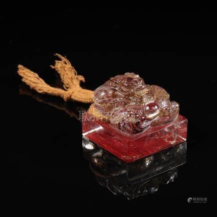 CHINESE ROCK CRYSTAL DRAGON SEAL