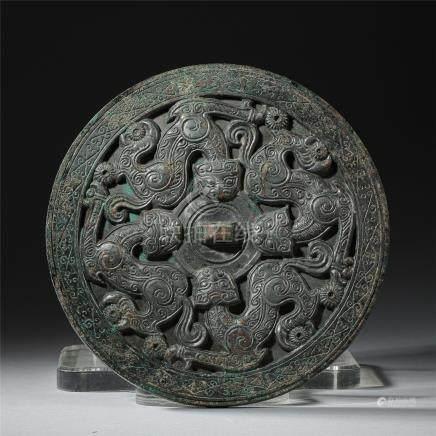 CHINESE ANCIENT BRONZE DRAGON ROUND MIRROR WARRING PERIOD