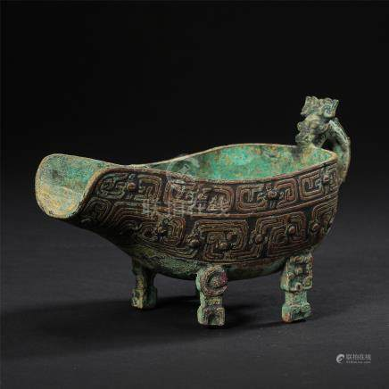 CHINESE ANCIENT BRONZE JUE CUP WARRING PERIOD