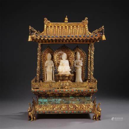 CHINESE GILT BRONZE BUDDHIST NICHE