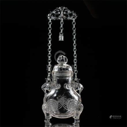 CHINESE ROCK CRYSTAL LONG CHAIN HANDLE LIDDED VASE