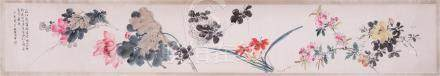 CHINESE HAND SCROLL PAINTING OF FLOWER
