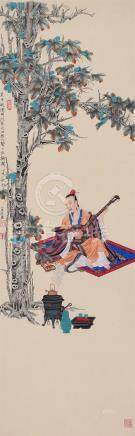 CHINESE SCROLL PAINTING OF MUSICAN UNDER TREE