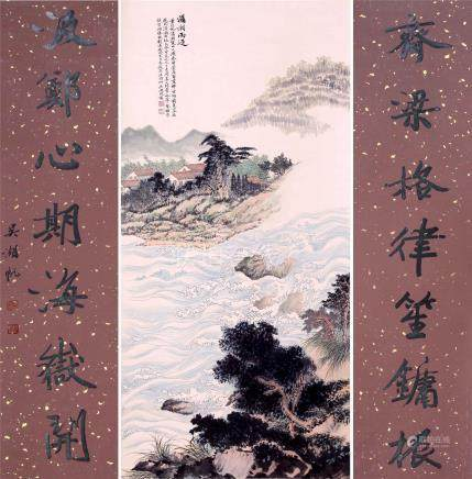 CHINESE SCROLL PAINTING OF RIVER VIEWS WITH CALLIGRAPHY COUPLET