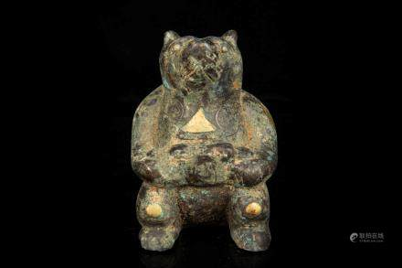 ARCHAIC BRONZE INLAID GILT AND SILVER 'BEAR' FIGURE