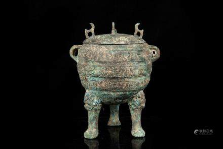 ARCHAIC BRONZE CAST TRIPOD RITUAL CENSER WITH LID