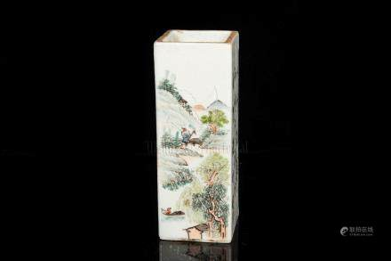 FAMILLE ROSE 'LANDSCAPE SCENERY' BRUSH POT