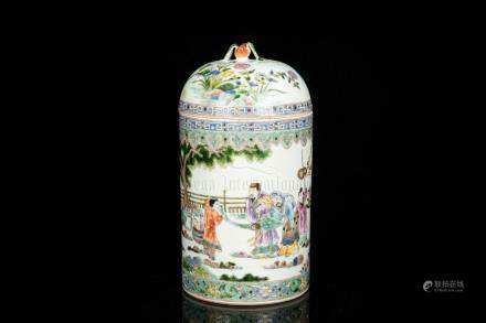 FAMILLE ROSE 'PEOPLE' JAR WITH COVER