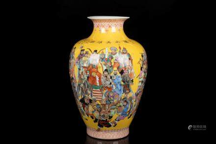 FAMILLE ROSE YELLOW GROUND '108 OUTLAWS' VASE