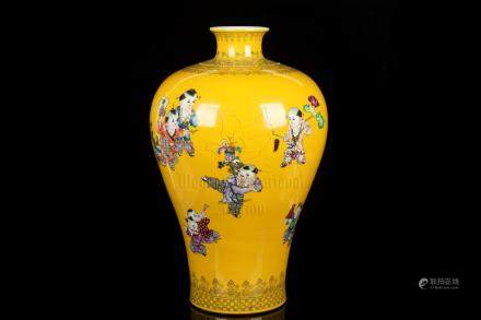 FAMILLE ROSE YELLOW GROUND 'CHILDREN' VASE