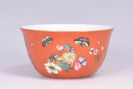 FAMILLE ROSE RED GROUND 'FLOWERS' CUP