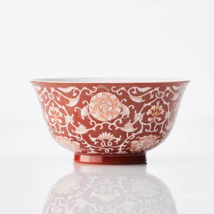 A fine Chinese coral-red reverse decorated 'floral' bowl