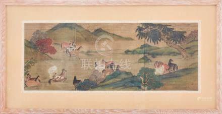 Three Chinese watercolours, Zhao Zhong Mu