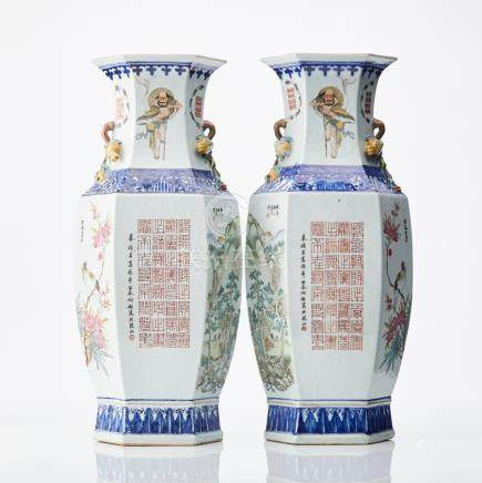 A pair of tall and unusual Chinese famille rose vases