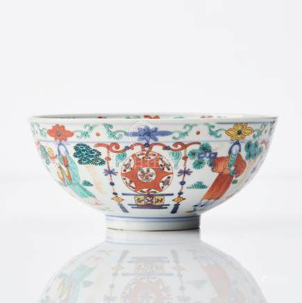 A Chinese Wucai 'Immortals' bowl