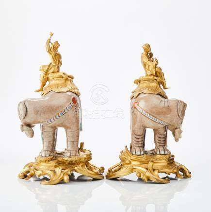 Two Chinese porcelain elephants with Ormolu mounts