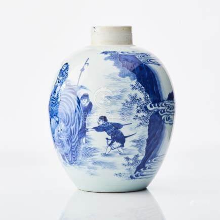 A fine Chinese jar 'Washing the Elephant'
