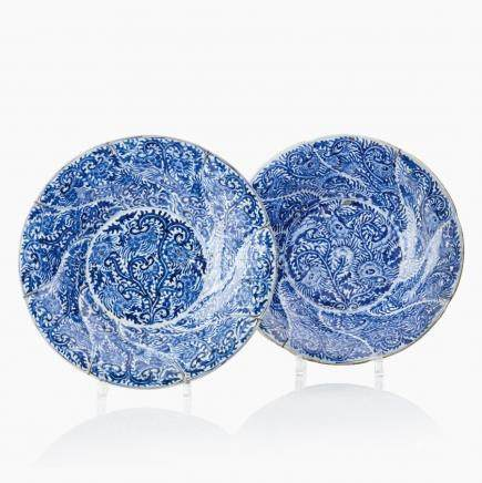 A pair of Chinese blue and white dishes