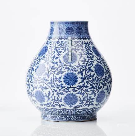An imposing Chinese Ming-style underglaze-blue Hu vase