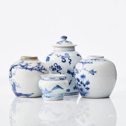 Four Chinese blue and white jars
