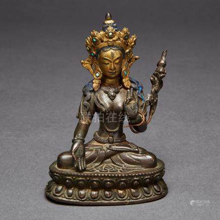 A Copper Alloy Figure of a White Tara