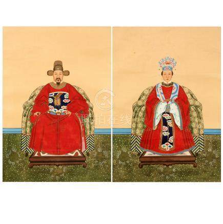 A Pair of Chinese Ancestor Portraits