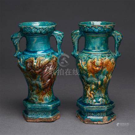 A Pair of Susancai Glazed Pottery Vases