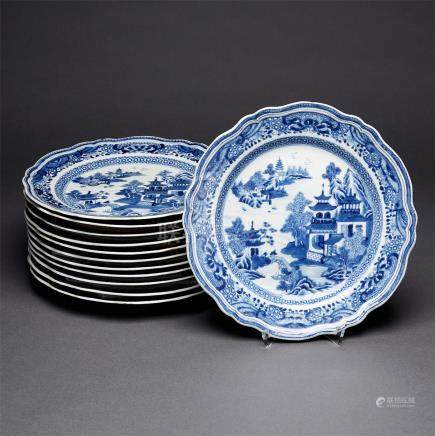 A Set of Twelve Blue and White Dinner Plates